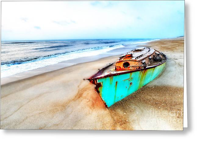 Recently Sold -  - Commercial Photography Greeting Cards - Painted Shipwreck on the Outer Banks Greeting Card by Dan Carmichael