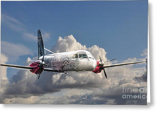 Airways Greeting Cards - Painted Silver Flying 2 Greeting Card by Diane E Berry