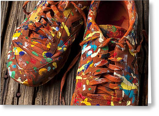 Painted Tennis Shoes Greeting Card by Garry Gay