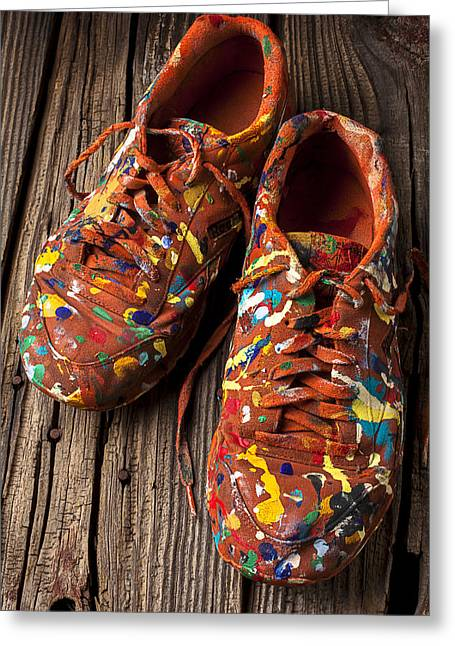 Messy Greeting Cards - Painted Tennis Shoes Greeting Card by Garry Gay