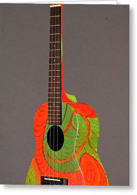 Santa Cruz Ca Paintings Greeting Cards - Painted Tenor Uke Greeting Card by Jean Groberg