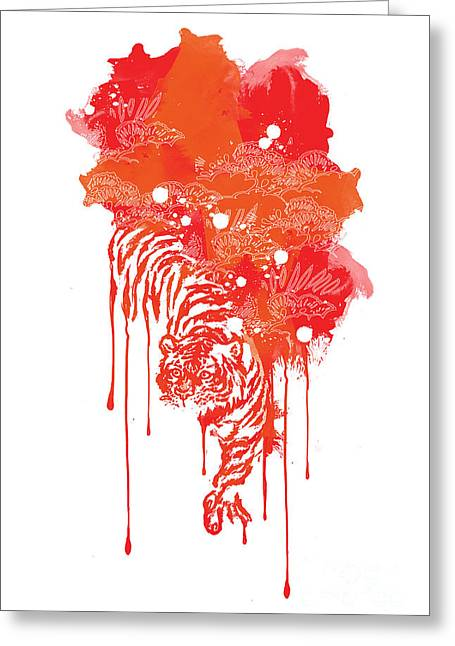 Tigers Greeting Cards - Painted tiger Greeting Card by Budi Kwan