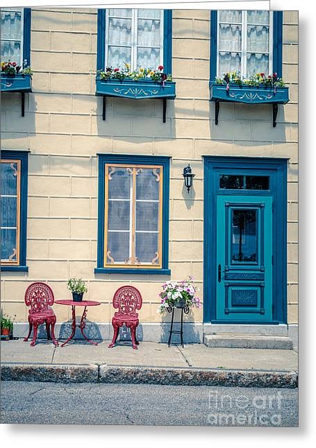 Screen Doors Greeting Cards - Painted Townhouse in Old Quebec City Greeting Card by Edward Fielding
