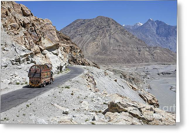 Mountain Road Greeting Cards - Painted truck on the Karakorum Highway in Pakistan Greeting Card by Robert Preston