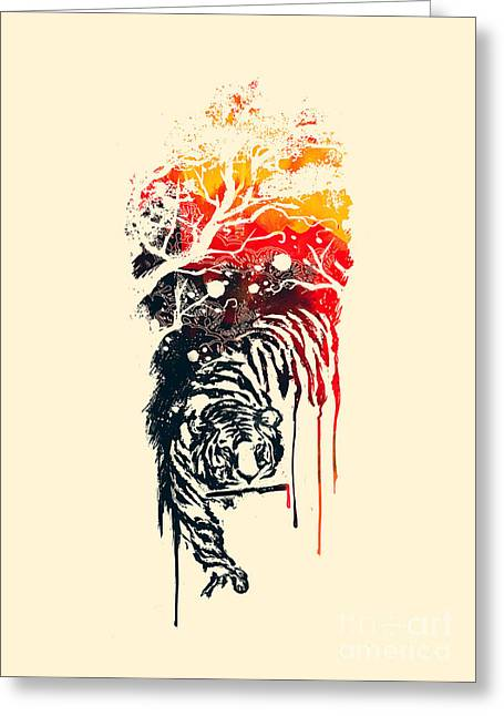 Tiger Dream Greeting Cards - Painted Tyger Greeting Card by Budi Kwan