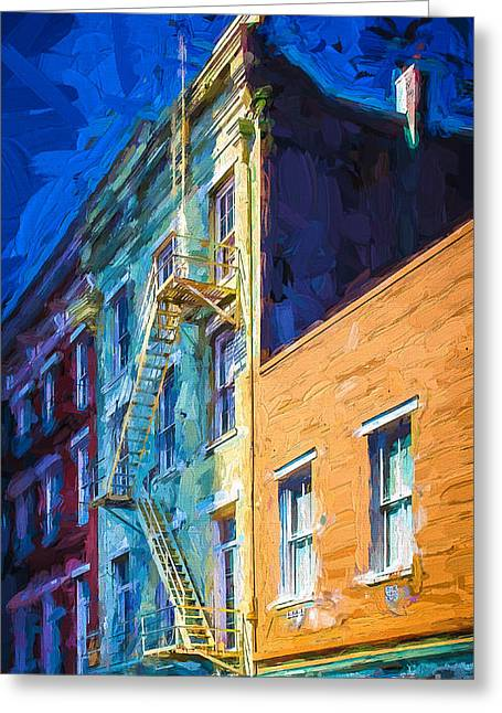 Brick Front Walk Greeting Cards - Painted Urban Street Greeting Card by Perry Webster