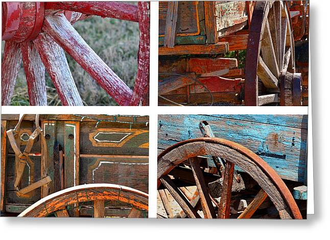 Buckboard Greeting Cards - Painted Wagons Greeting Card by Art Block Collections