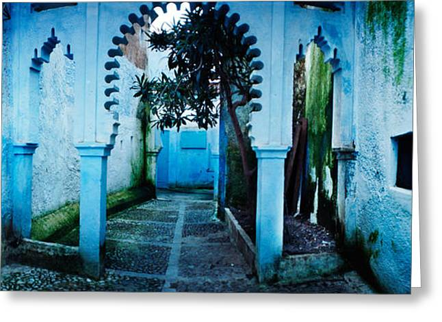 Painted Walls Greeting Cards - Painted Wall Of Medina, Chefchaouen Greeting Card by Panoramic Images