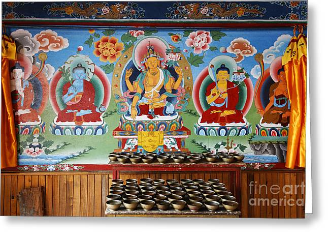 Religious Art Photographs Greeting Cards - Painted walls at the Buddhist Phodong Monastery in Sikkim India Greeting Card by Robert Preston
