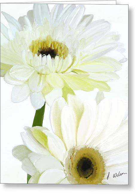Titanium White Greeting Cards - painted White Gerbera-1 Greeting Card by Lynne Wilson