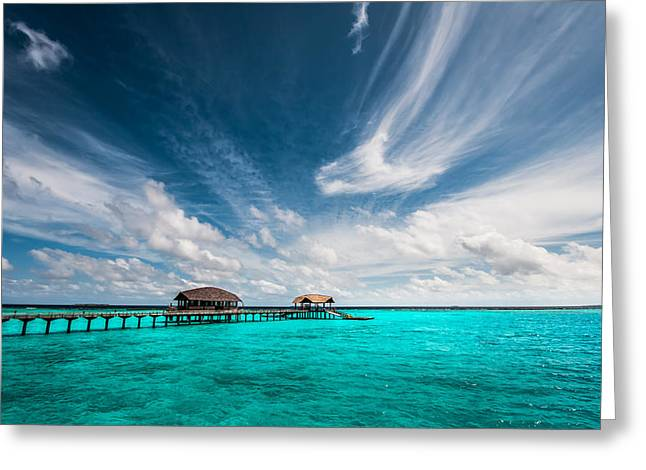 Maldivian Greeting Cards - Painted with Turquoise. Maldives Greeting Card by Jenny Rainbow