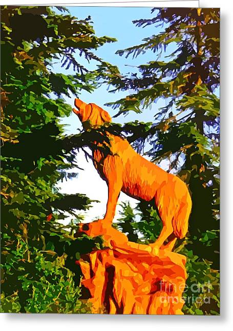 Wooden Sculpture Greeting Cards - Painted Wolf  Greeting Card by John Malone