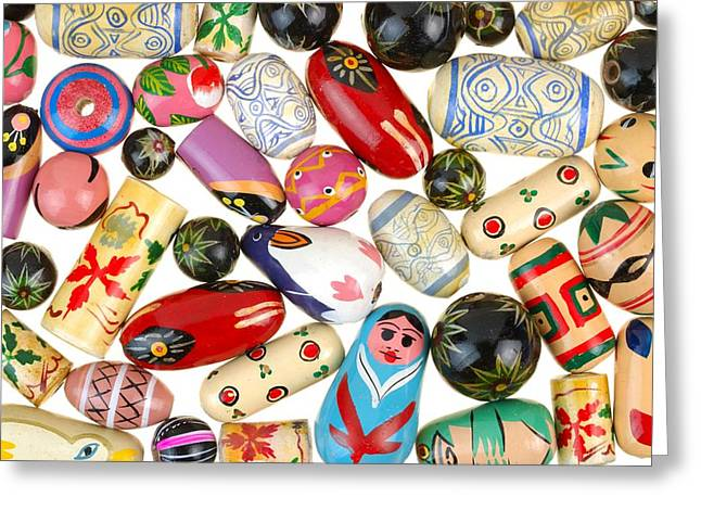 Glass Beads Greeting Cards - Painted wooden beads Greeting Card by Jim Hughes