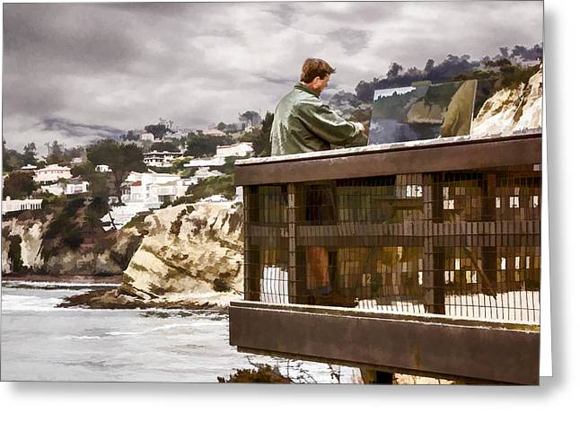 Painter At Work Greeting Cards - Painter At Work Greeting Card by Photographic Art by Russel Ray Photos