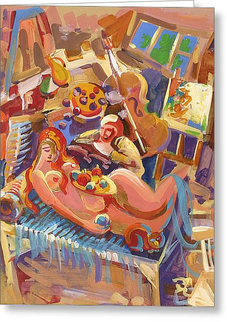 Armenia Greeting Cards - Painter in the workshop Greeting Card by Meruzhan Khachatryan