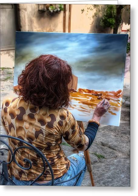 Painter To The Canvas Greeting Card by Leonardo Marangi