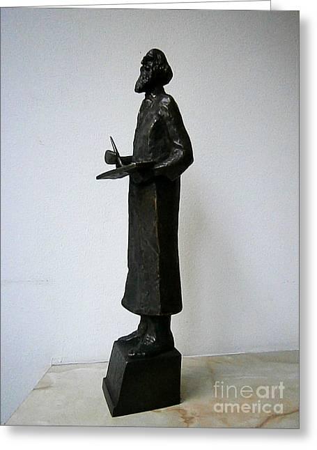 Collector Sculptures Greeting Cards - Painter Vladimir Dimitrov Maictora Greeting Card by Nikola Litchkov
