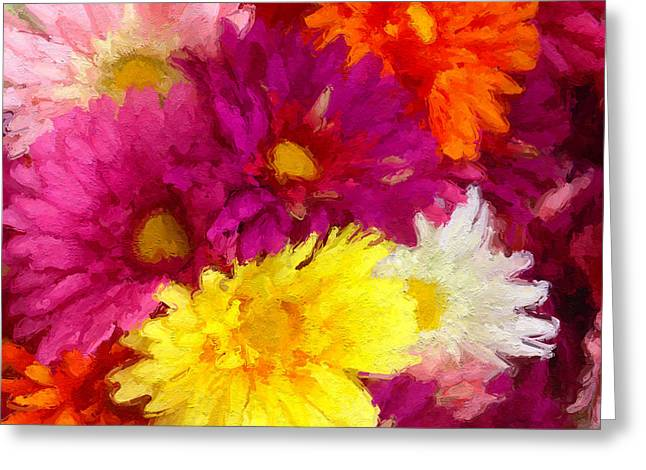 Beige Abstract Greeting Cards - Painterly abstract of artificial flowers version eleven Greeting Card by Ken Schulze