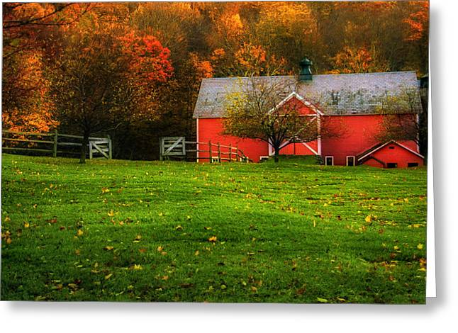 New England Foliage Greeting Cards - Painterly Autumn Scenic - Dorset Vermont Greeting Card by Thomas Schoeller