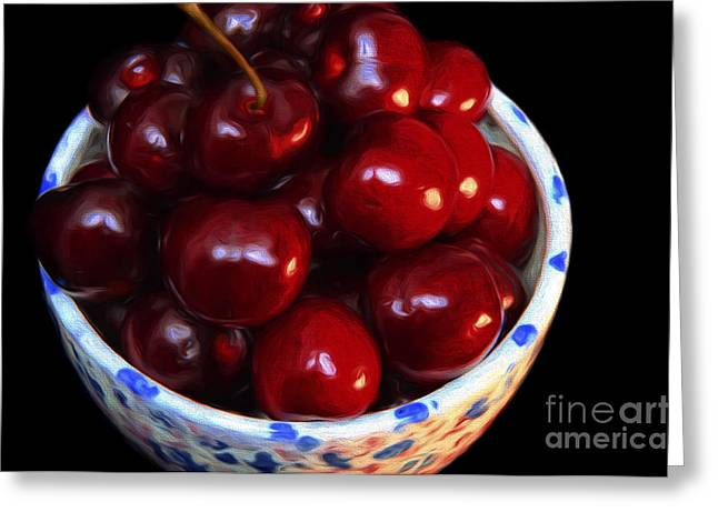 Bowl Of Food Greeting Cards - Painterly Bowl Of Cherries Greeting Card by Andee Design