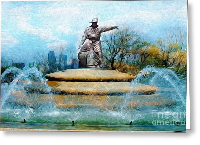 Kansas City Mixed Media Greeting Cards - Painterly Firefighters Memorial Fountain  Greeting Card by Andee Design