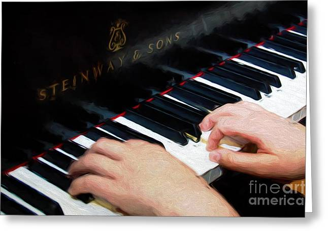Playing Musical Instruments Mixed Media Greeting Cards - Painterly Playing A Steinway Piano Greeting Card by Andee Design