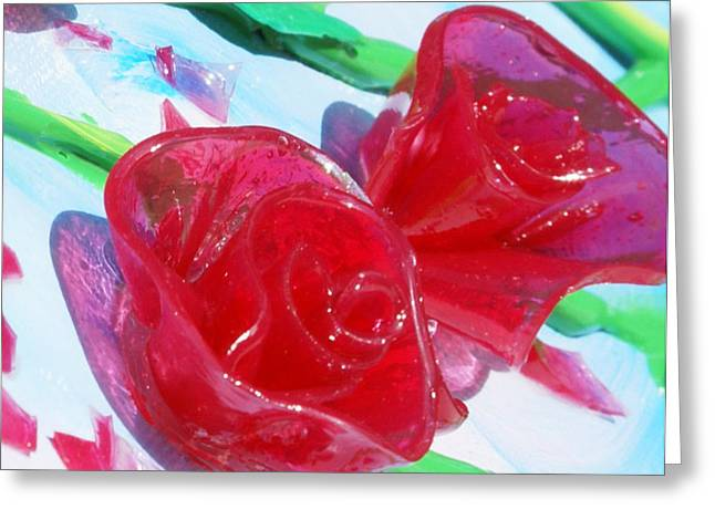 Acrylic Sculptures Greeting Cards - Painterly Stained Glass Looking Flowers Greeting Card by Ruth Collis