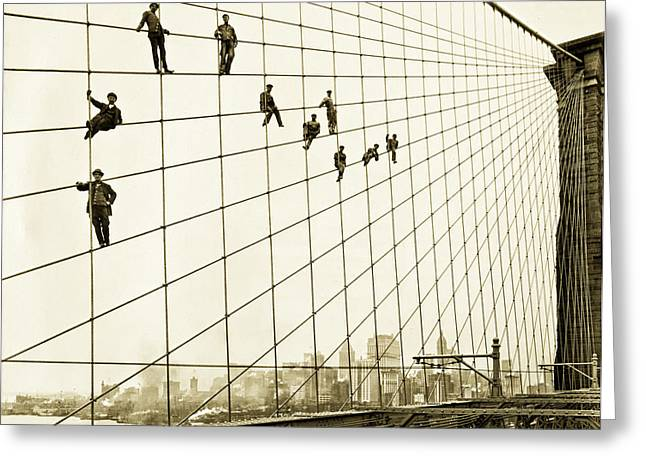 Vintage Painter Greeting Cards - Painters on the Brooklyn Bridge 1914 Greeting Card by Mountain Dreams