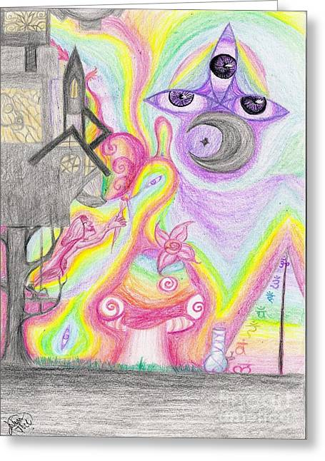 Chakra Rainbow Drawings Greeting Cards - Painters Trip Greeting Card by Jarem Vilez