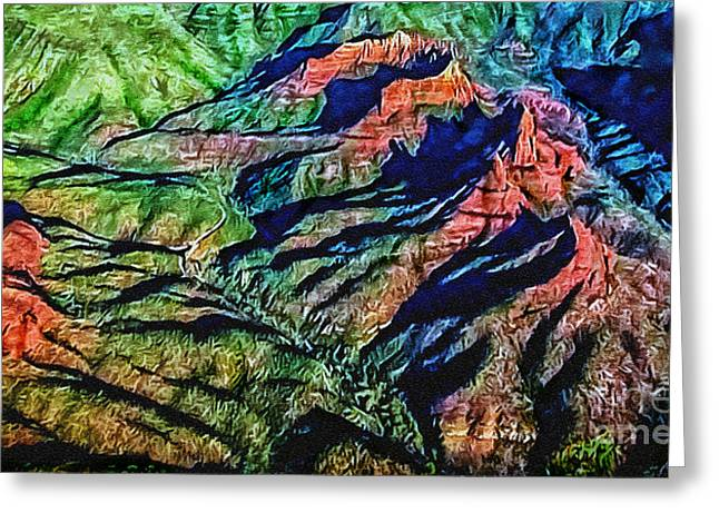 Moist Digital Art Greeting Cards - Painting Aerial View Sedona Arizona Greeting Card by  Bob and Nadine Johnston