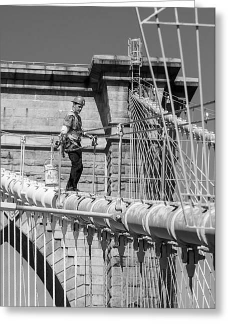 Painter At Work Greeting Cards - Painting Brooklyn Bridge 2 Greeting Card by John Hall