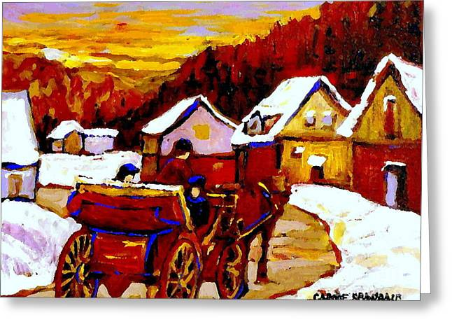Horse And Buggy Paintings Greeting Cards - Painting Canadian Landscapes Red Sled Riders Home Before Sunset Quebec Landscape Paintings  Greeting Card by Carole Spandau