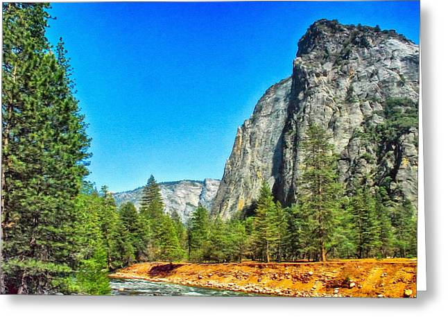 Cathedral Rock Digital Greeting Cards - Painting Cathedral Rock Yosemite National Park Greeting Card by  Bob and Nadine Johnston