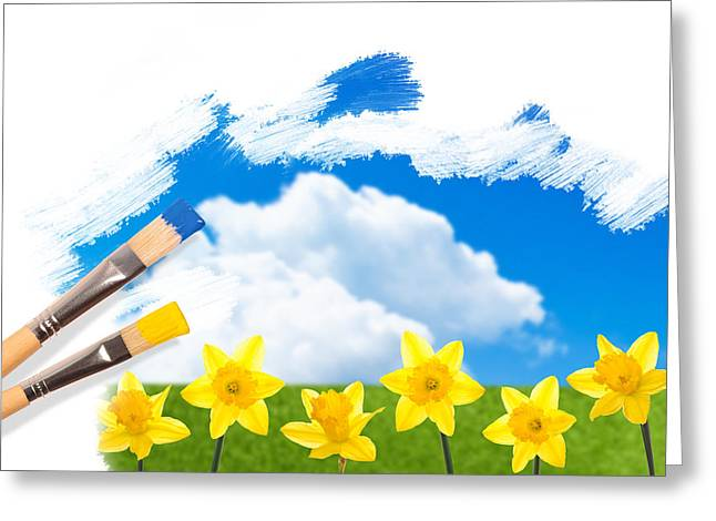 Painting Daffodils Greeting Card by Amanda And Christopher Elwell