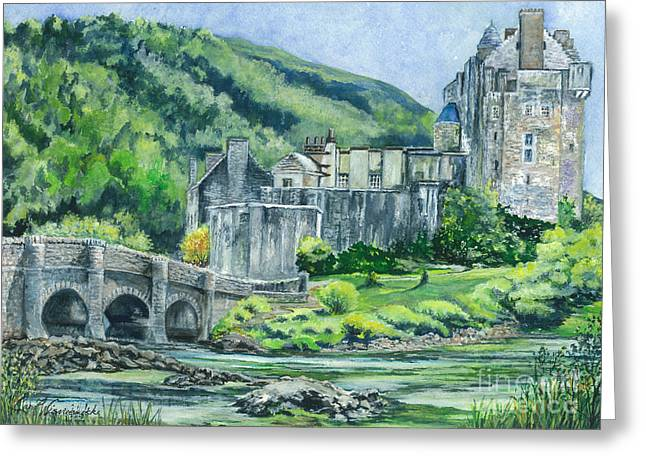 Popular Drawings Greeting Cards - Painting Eilean Donan Medieval Castle Scotland Greeting Card by Carol Wisniewski
