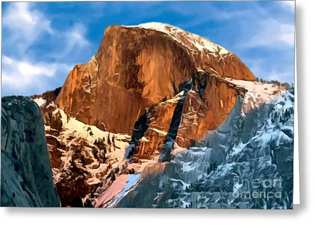 Painting Half Dome Yosemite N P Greeting Card by Bob and Nadine Johnston