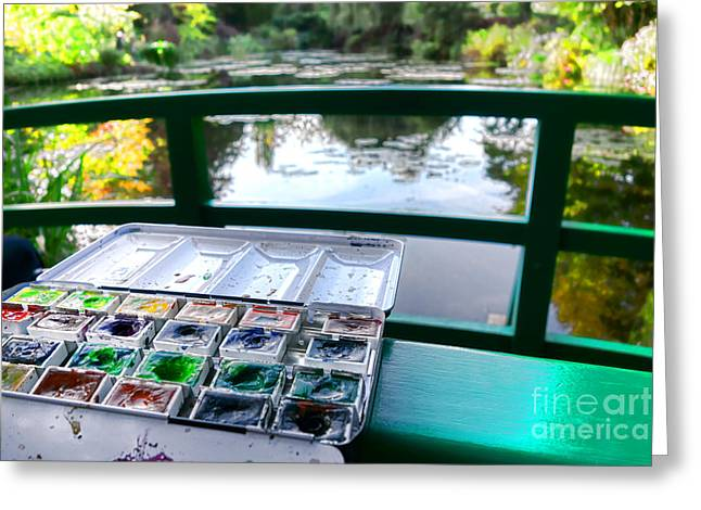 Famous Bridge Greeting Cards - Painting in Giverny Greeting Card by Olivier Le Queinec