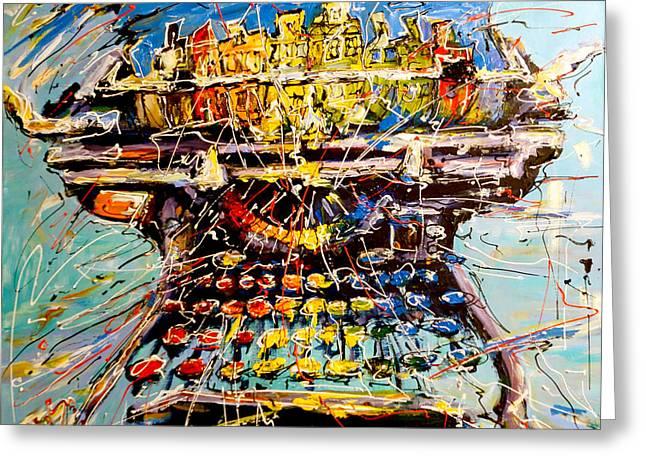 Typewriter Paintings Greeting Cards - Painting Machine Greeting Card by Mathias