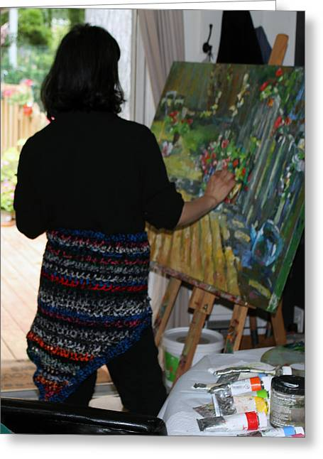 Behind The Scenes Photographs Greeting Cards - Painting My Backyard 1 Greeting Card by Becky Kim
