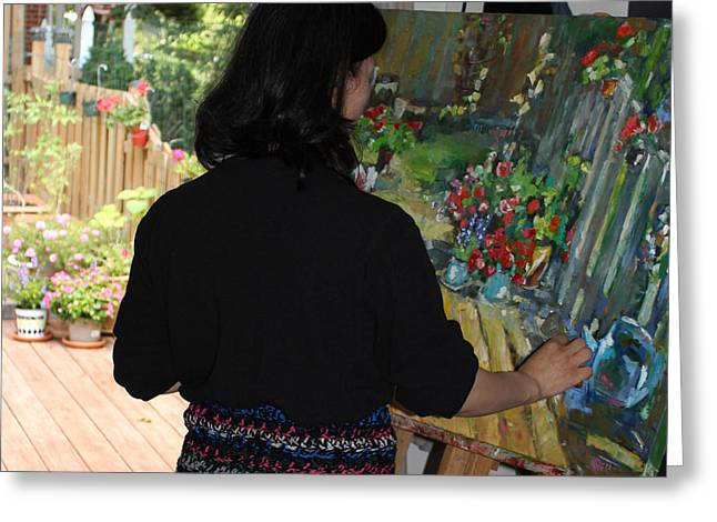 Behind The Scenes Photographs Greeting Cards - Painting My Backyard 2 Greeting Card by Becky Kim