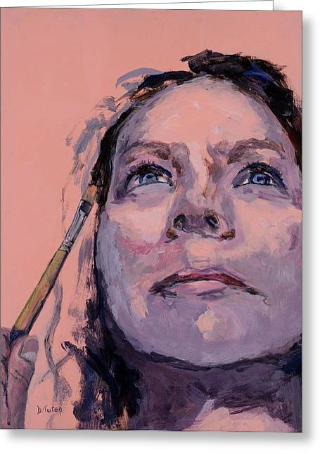 Self-perception Greeting Cards - Painting My Identity Greeting Card by Donna Tuten