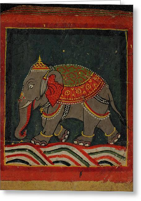 Painting Of A Caparisoned Elephant Greeting Card by British Library