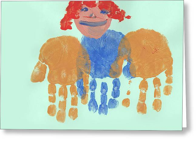 Poor Education Greeting Cards - Painting Of A Child With Palms Held Out  Greeting Card by Fizzy Image