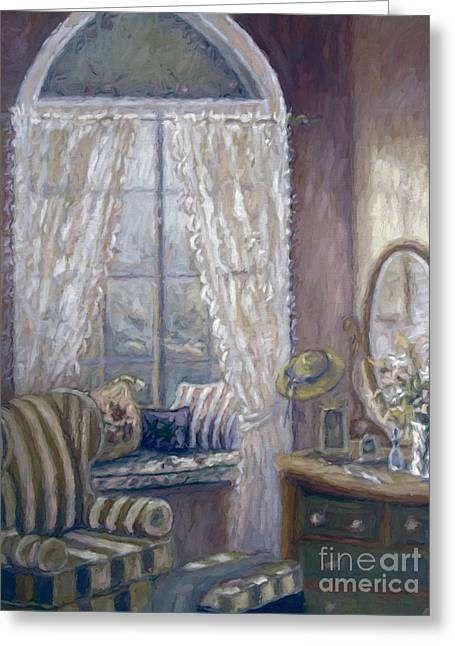 Digitally Altered Greeting Cards - Painting of a childs bedroom/ digitally altered Greeting Card by Sandra Cunningham