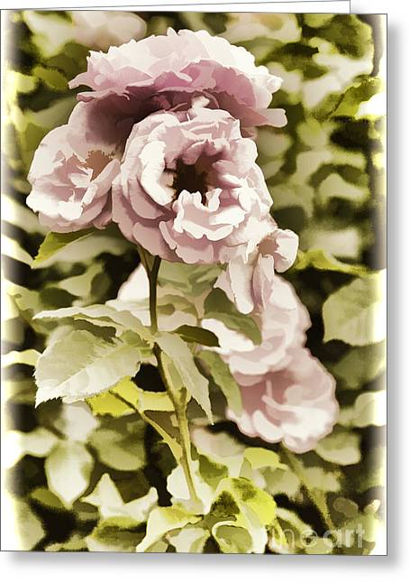 Live Art Photographs Greeting Cards - Painting of a live pink Rose flower in Color 3225.02 Greeting Card by M K  Miller