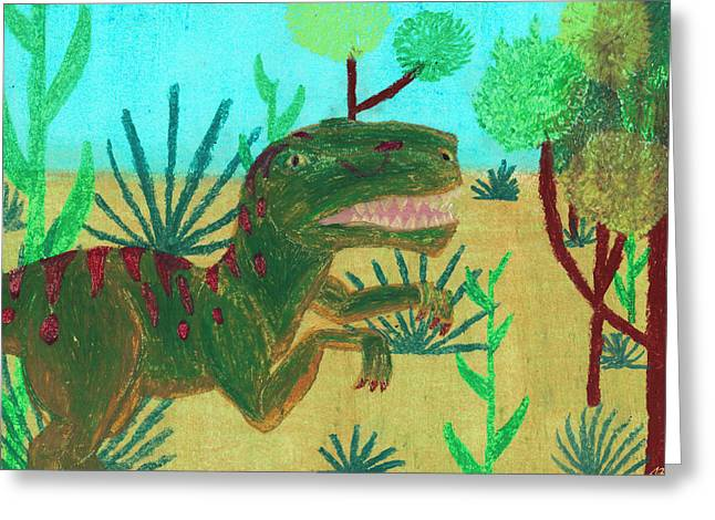 Dinosaurs Pastels Greeting Cards - Painting of a Raptor Stalking Around Greeting Card by Jessica Foster