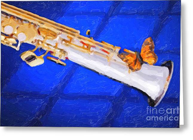 Soprano Greeting Cards - Painting of a Soprano Saxophone and Butterfly 3352.02 Greeting Card by M K  Miller