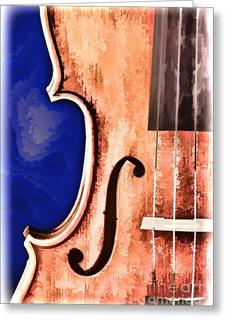 Still Life Photographs Greeting Cards - Painting of a Viola Violin Side in Color 3373.02 Greeting Card by M K  Miller