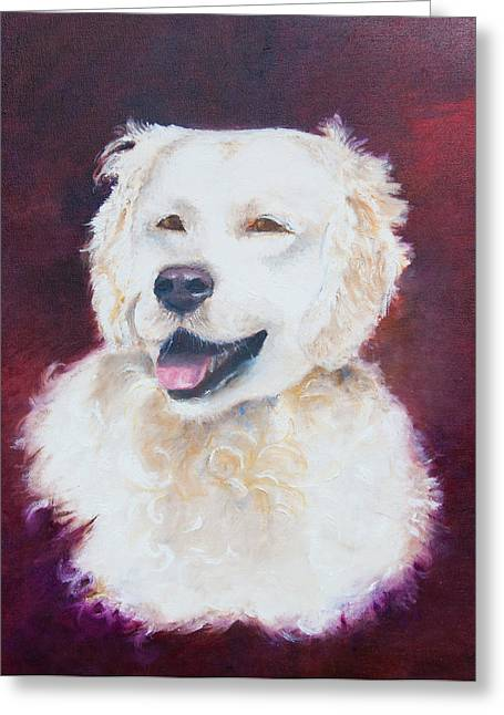 Abstract Hair Images Greeting Cards - Painting of a white dog Greeting Card by Micha Klootwijk