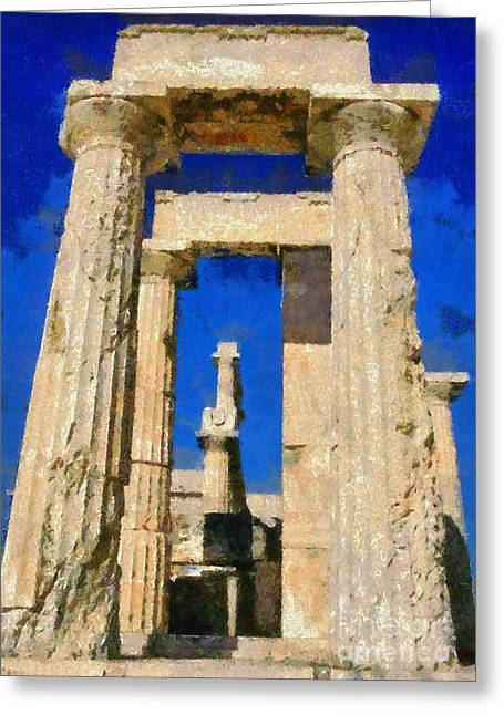 European Greeting Cards - Painting of Aphaia Athina temple Greeting Card by George Atsametakis